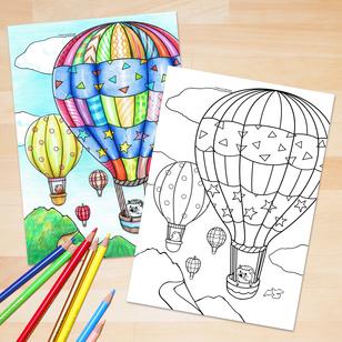 ぬりえ:乗物(気球)