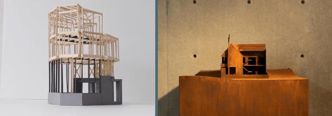 左) 金田泰裕 Todoroki House in Valley©️yasuhirokaneda STRUCTURE 右) 梅沢良三 IRONHOUSE構造模型©️瀬尾憲司