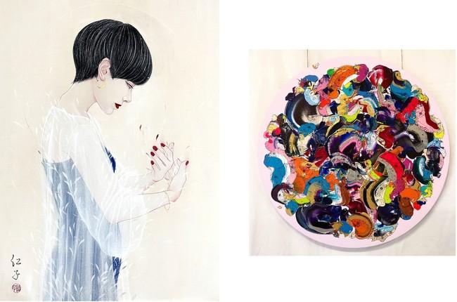 左「たしかな声。」丁子 紅子   右「Abstract Flowers」奥田 雄太