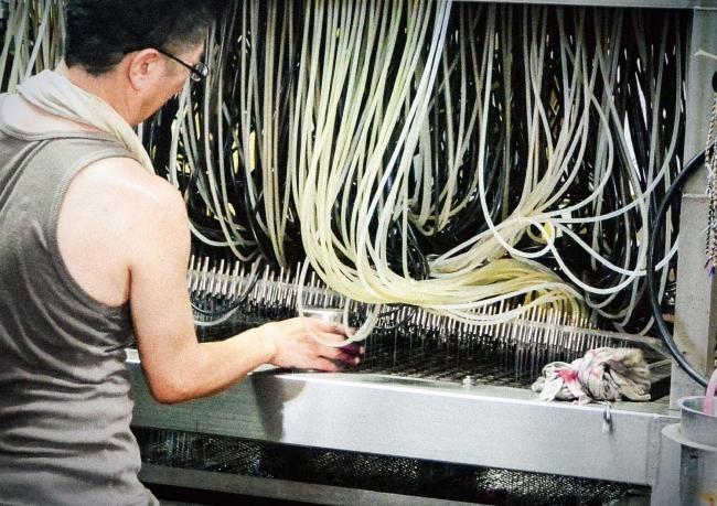 [染色の工程]染色は一瞬です。染料を流し込む数百本のチューブを自在に操り、一つ一つ職人さんが丁寧に染めあげます。