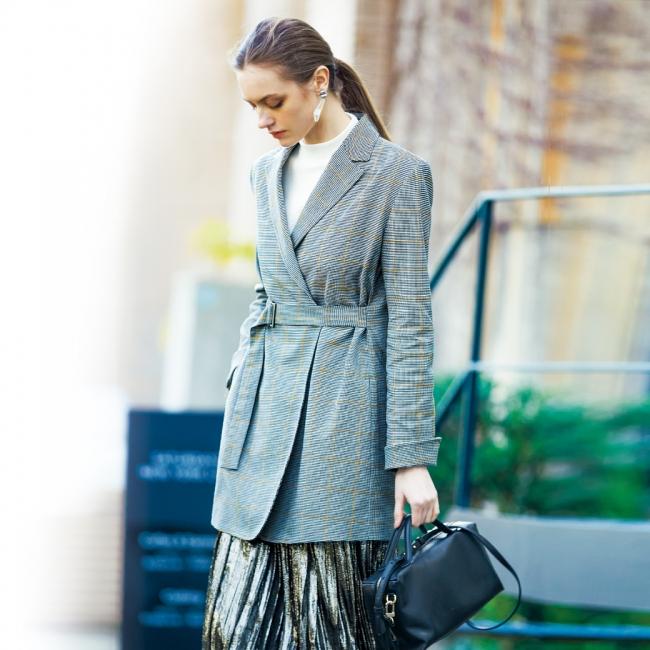 ベルテッドジャケット ¥38,880(税込) カラー:千鳥×イエローライン、グレンチェック×ブルーライン