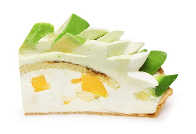 上から アボカド、アボカドクリーム、マスカルポーネクリーム、エスプレッソシロップ、マンゴー、バナナ、マスカルポーネのベース
