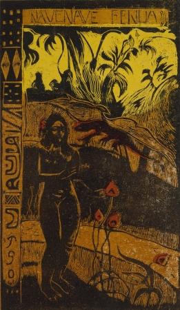 ポール・ゴーギャン《ナヴェ・ナヴェ・フェヌア(かぐわしき大地)》1893-94年  多色木版、ステンシル 35.5×20.5cm 横浜美術館