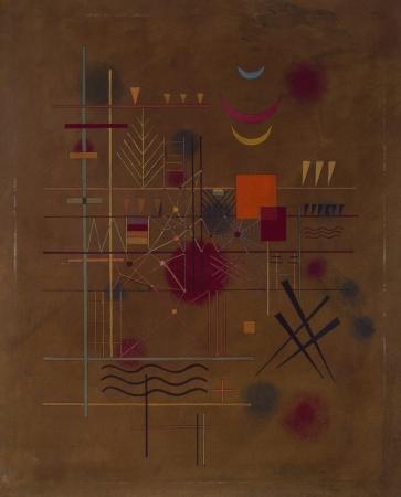 ヴァシリィ・カンディンスキー《網の中の赤》1927年 油彩、厚紙 61.0×49.0cm 横浜美術館