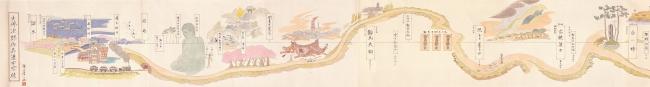横山隆一≪大佛次郎作品道中図絵≫前期 の展示部分