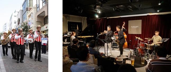 左から、薗田憲一とデキシーキングス (c)YJP(撮影:クルー長沢)、中村恵介(tp)HUMADOPE (c)YJP(撮影:クルー和田)。