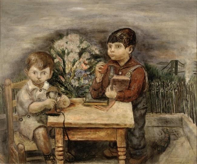 野田英夫 《二人の子供》 1934(昭和9)年 油彩、カンヴァス 75.0×90.2cm 横浜美術館蔵