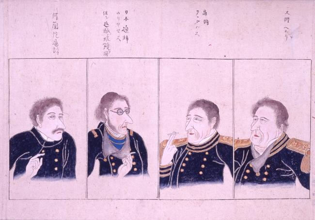 《無款 黒船絵巻》(部分)19世紀後半(江戸時代末期)紙本着色 26.3×695.3cm 神奈川県立歴史博物館蔵 会期中巻替えあり
