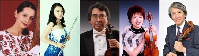 左からナターシャ・グジー(歌・バンドゥーラ)、高木綾子(フルート)、藤原浜雄(ヴァイオリン)、水野佐知香(ヴァイオリン)、堀了介(チェロ)