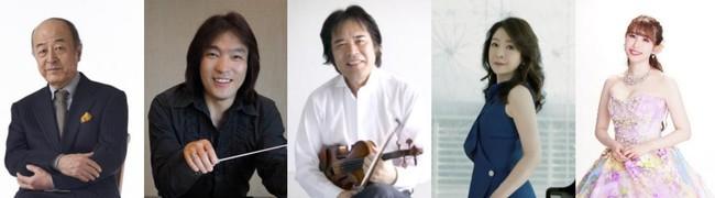 左から、池辺晋一郎(音楽監督)、飯森範親(指揮)、徳永二男(エグゼクティブ・ディレクター)、仲道郁代'(ピアノ)、梅津碧(ソプラノ)