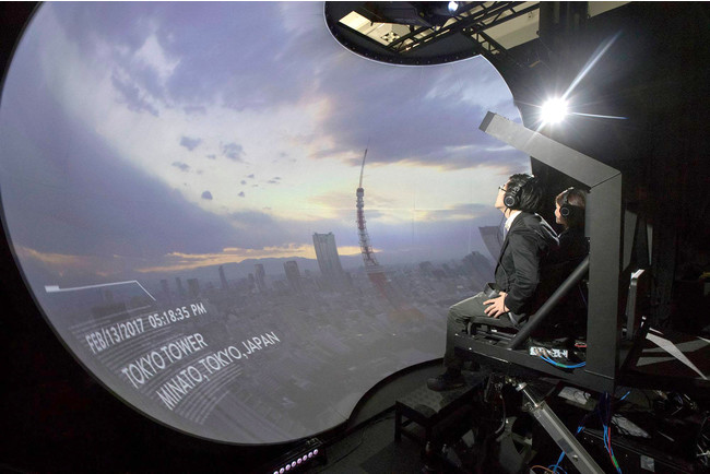 スフィア5.2・・・幅5.2m 高さ3.4m 奥行2.6m 人間の空間認知のメカニズムと極めて近い視覚体験をもたらすシステムでバーチャル体験が可能。