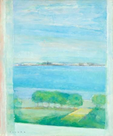 田中岑《窓外港 朝》1988年 油彩、キャンバス 72.7×60.8cm