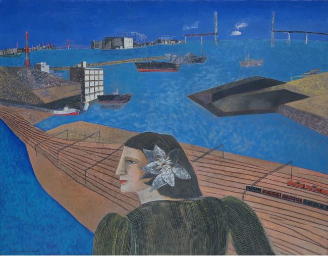 林敬二《横浜港》1988年 油彩、キャンバス 91.0×116.0cm