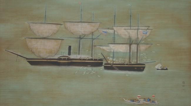 牛田雞村《蛮船の泊(「蟹港二題」より)》1926年 絹本着彩 62.1×112.9cm