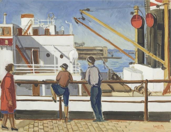 三橋兄弟治《港にて》1940年 水彩、紙 57.0×74.7cm