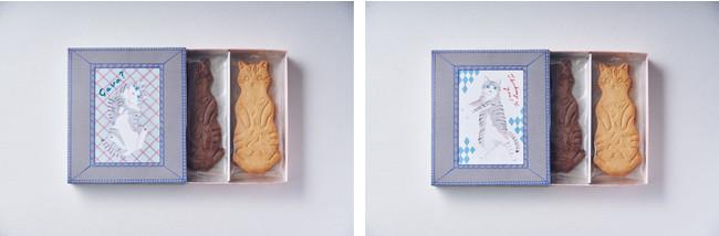 「LetterBOX cat cookie ネコクッキーレターボックス」 (左) セットA チェック柄 (右) セットB ダイヤ柄