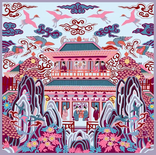 「仙山楼閣」(サマーカルネ)シルクスカーフ (100cm×100cm)ピンク系 38,880円