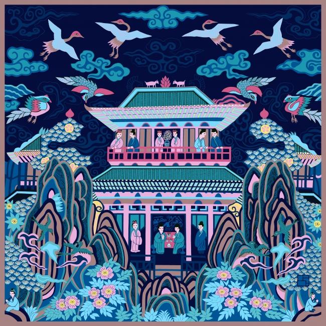 「仙山楼閣」(サマーカルネ)シルクスカーフ (100cm×100cm)ブルー系 38,880円