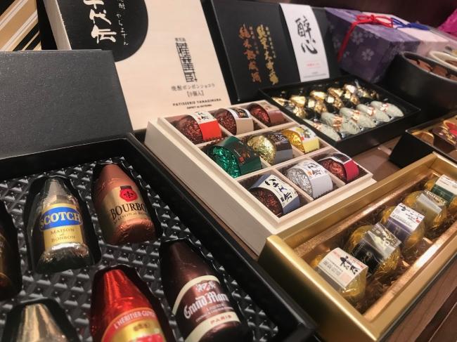 焼酎や日本酒を使ったチョコレートも充実。