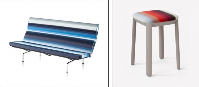 (左)Eames沙发紧凑型961,146日元※定做(右)盖凳(全部六种颜色)46,440日元