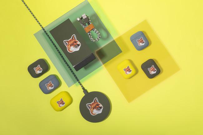 「メゾンキツネ」×「ネイティブユニオン」 エアーポッズ用ケース各4,070円、 ワイヤレス充電器10,120円、 モバイルバッテリーワイヤレス充電器 15,180円、ベルトケーブル4,620円