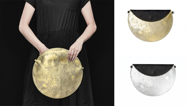 クラッチバッグ:荷物を取り出すときには満月が現れます(写真はシルバー)