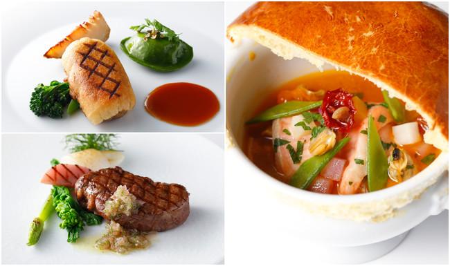 """左上)大豆ミートステーキと野菜のオリエンタルソース ゼンブペーストえんどう豆と大豆チーズのラヴィオリ添え、左下)牛フィレの備長炭炙り焼き 季節野菜とオニオンソース、右)""""おかそだちサーモン""""のココット焼き ゼンブ・ペーストパプリカのブイヤベース風"""