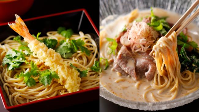 ZENBカレーつけ麺 海老天付 /ZENB尾崎牛しゃぶしゃぶのぶっかけ麺