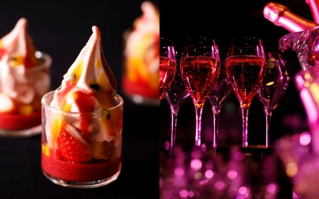 左:ソフトクリーム セレスト 右:ロゼシャンパンバーイメージ