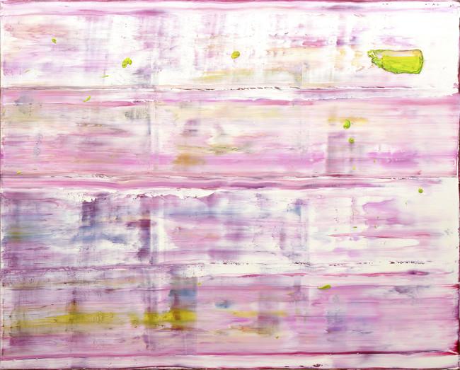 """「花筏」182×228 cm 画家の代表作のひとつ。春色に染まった画面は、まさに陽光を浴びながら水面をたゆたう""""花筏〞である。"""
