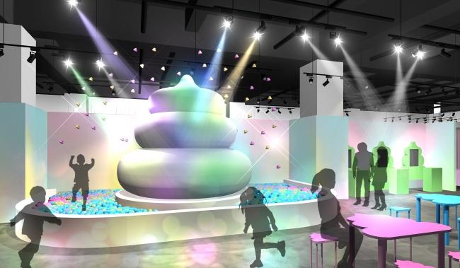 【①うんこ広場(ボルケーノ)】 巨大うんこオブジェから定期的にうんこが噴火! 飛び出たうんこが詰まった便器型プールで遊ぼう! うんこ型のテーブルと椅子が並ぶ休憩スペースで、 うんこと戯れるお子さんや友人、恋人を眺めるのもよし。