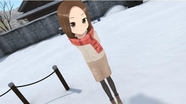冬服の高木さんと空き地で待ち合わせ(VRプレイ画面)