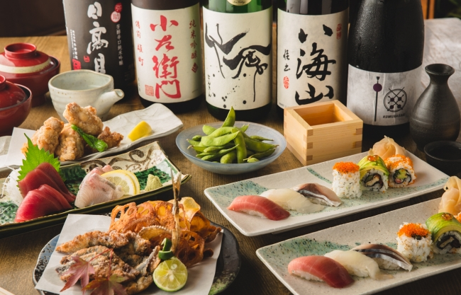 1.寿司テラスコース(2時間飲み放題)7,000円(税別)
