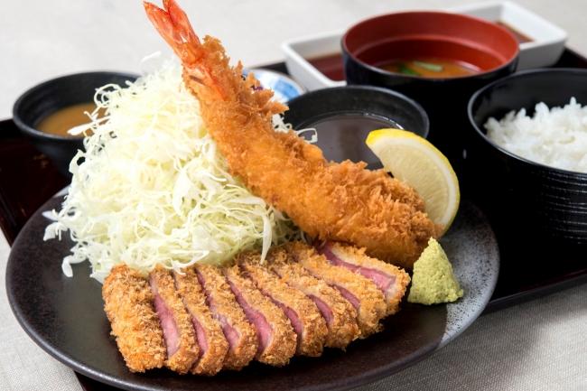 牛カツ大海老フライの相盛り膳:1,584円(+税)