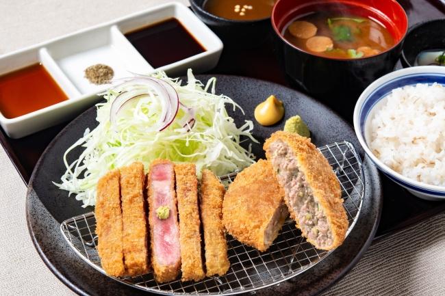 ランチ限定「牛リブロースカツ牛メンチカツ膳」:920円(+税)