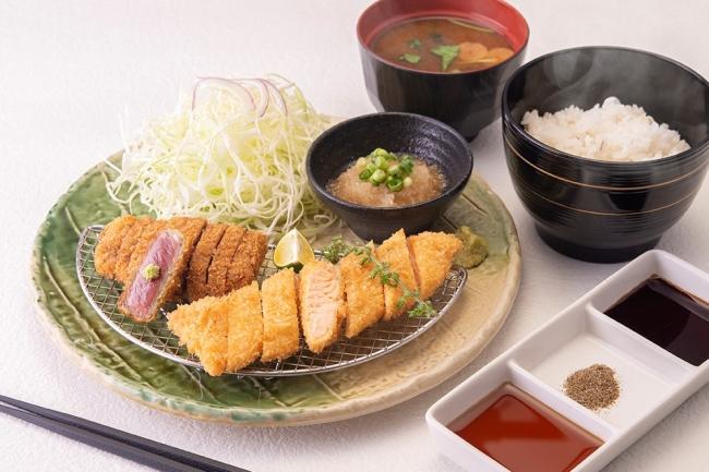 期間限定「牛ロースカツ&サーモン大トロカツ膳」:1,480円(+税)