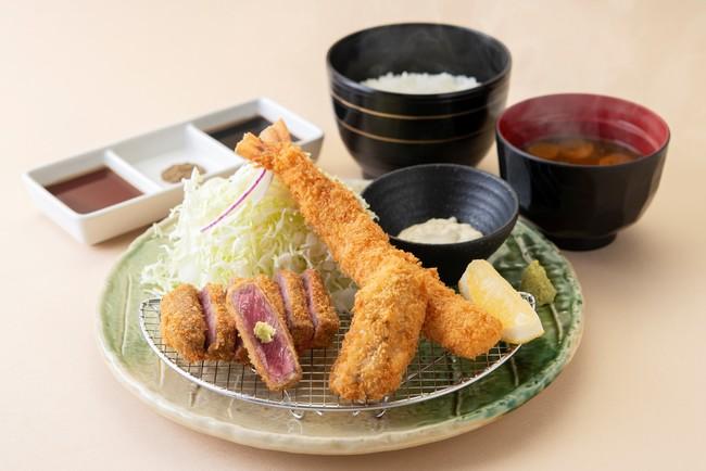『牛ロースカツと大海老牡蠣カツ膳』: 1,480円(+税)