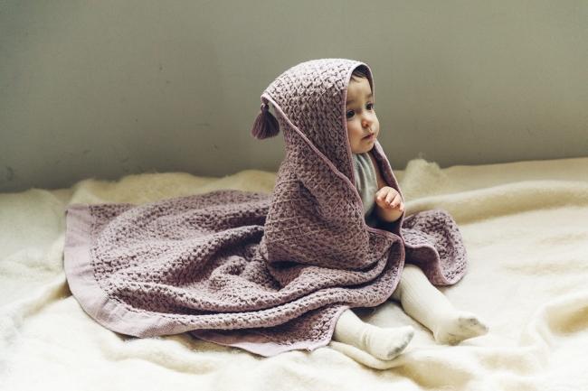 フード付きワッフルタオル「hooded towel 1 lavender」
