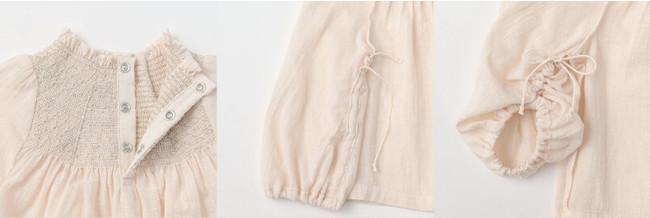 袖の内側の紐を結ぶことで長さを調節し長く着られる仕様。