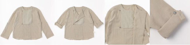 袖はロールアップして丈を調整。前のボタンを開けて着てもかわいい。