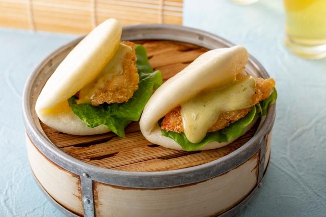 海老の抹茶マヨネーズソース 中華蒸しパンサンド