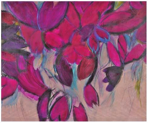 山川美代「燃える花-花の実 それとも II」162cm×194cm(2013年 油画)