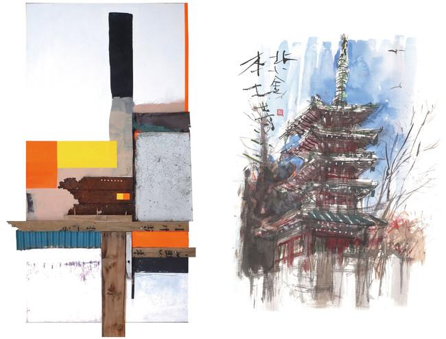 左《ART WORK 2021》(2021年 190×105cm アクリル+コラージュ) 右《本土寺五重塔》(2021年 F10号 墨彩)