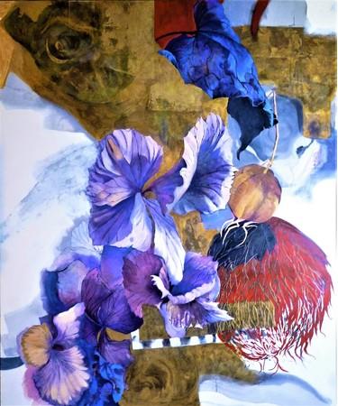 渋谷良子〈律の調べ(りちのしらべ)〉 F130号 2021年 金銀箔(きんぎんぱく) 墨 油彩画