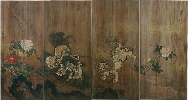 佐竹永湖「獅子に牡丹」(松戸神社神楽殿杉戸絵)