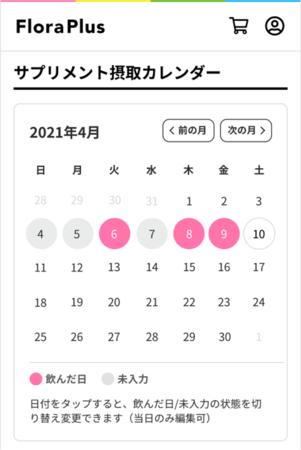 サプリメント摂取カレンダー