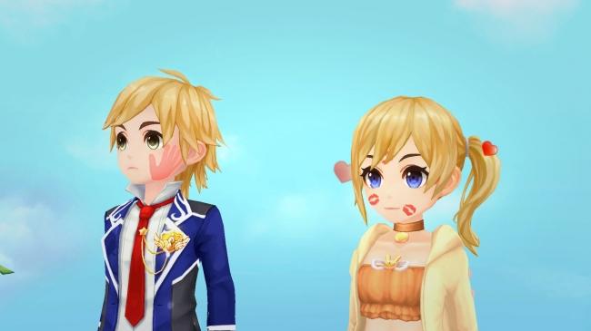 イベント限定の顔アバター「ビンタマーク(左)」と「キスマーク(右)」