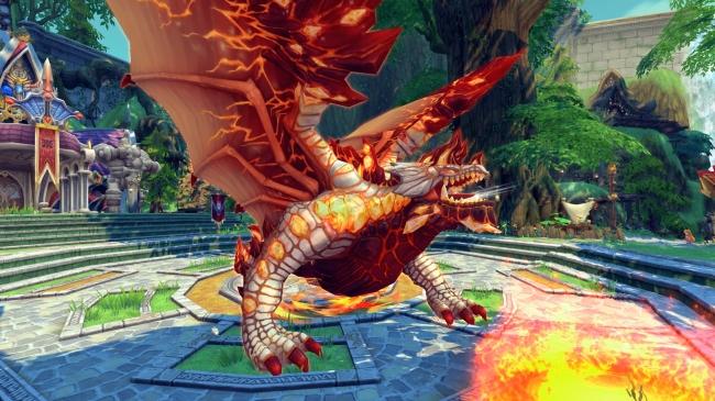 ▼地面をマグマに変化させるほどの強力な炎を武器とする降臨王「炎帝竜グランザ」