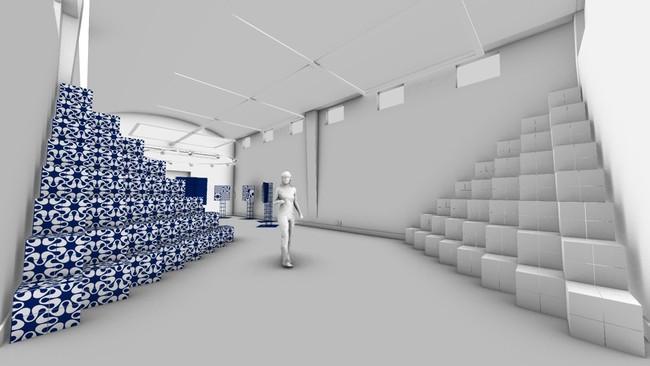 (図版5)STEPS パターンデザイン:野老朝雄、 造形デザイン:野老朝雄、noiz 本展会場イメージより、提供:noiz