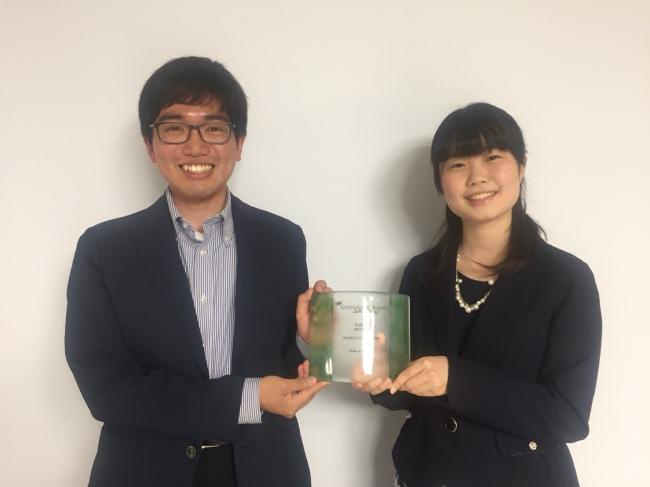 参加した学生(左から上田幸秋、岡桃菜)